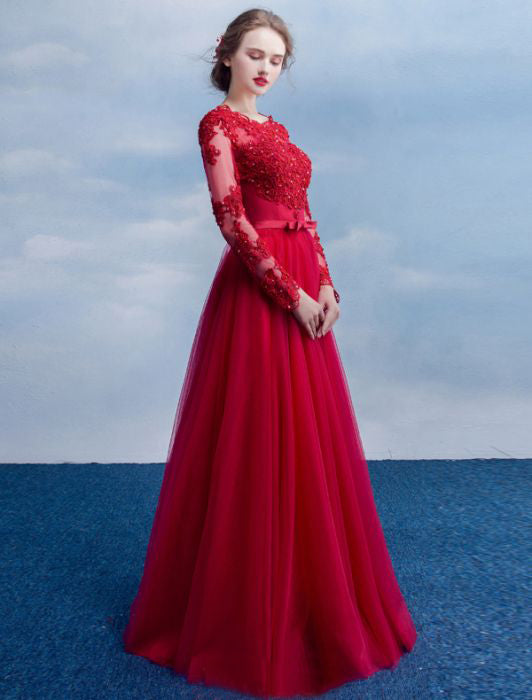 3426c0bf9 ... Chic A-line Scoop Red Applique Long Sleeve Modest Prom Dress Evening  Dress AM528 ...