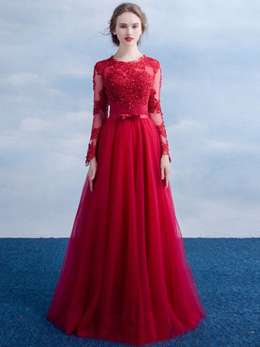 2d0f80e23 Chic A-line Scoop Red Applique Long Sleeve Modest Prom Dress Evening D –  AmyProm