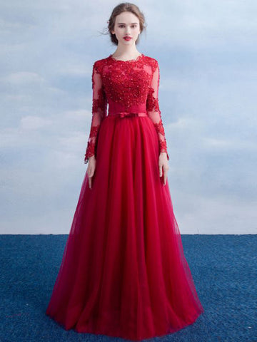 Chic A-line Scoop Red Applique Long Sleeve Modest Prom Dress Evening Dress AM528