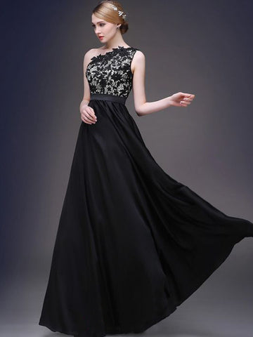 Chic A-line One Shoulder Black Applique Modest Long Prom Dress Evening Dress AM529