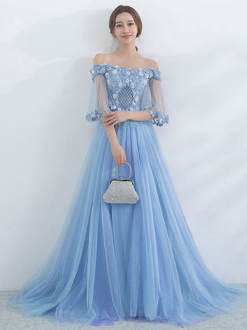 Chic A-line Off the Shoulder Blue Applique Flower Modest Long Prom Dress Evening Dress AM530