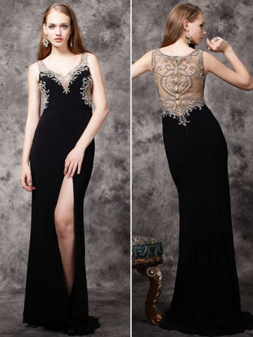 Chic Sheath/Column Straps Black Chiffon Beading Modest Long Prom Dress Evening Dress AM531