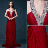 Chic Sheath/Column Halter Burgundy Beading Modest Long Prom Dress Evening Dress AM532