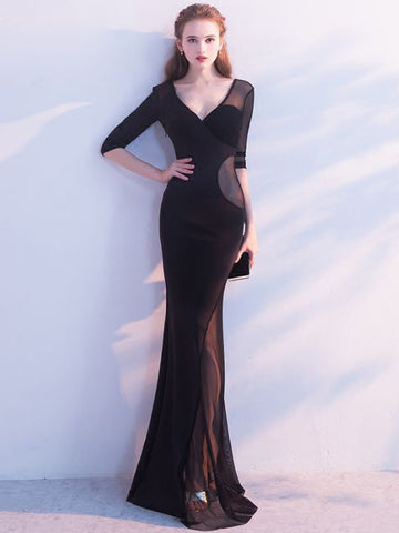 Chic Trumpet/Mermaid V-neck Black Simple Tulle Long Prom Dress Evening Dress AM533