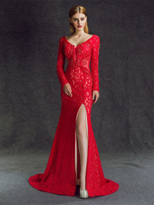 ac6ddbaa5f2e Chic Trumpet Mermaid V-neck Red Lace Tulle Long Prom Dress Evening Dre –  AmyProm