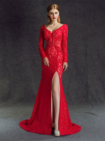 Chic Trumpet/Mermaid V-neck Red Lace Tulle Long Prom Dress Evening Dress AM534