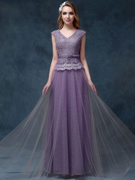 Chic A Line V Neck Lavender Lace Tulle Long Prom Dress Evening Dress Am535