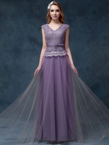 Chic A-line V-neck Lavender Lace Tulle Long Prom Dress Evening Dress AM535