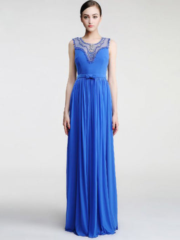 Chic A-line Scoop Blue Chiffon Rhinestone Modest Long Prom Dress Evening Dress AM536