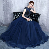 Chic A-line Scoop Dark Navy Rhinestone Tulle Long Prom Dress Evening Dress AM537