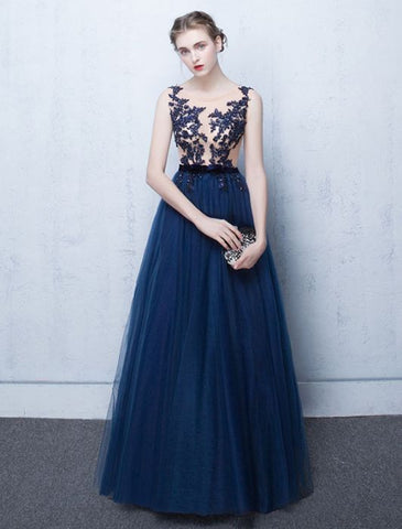 Chic A-line Scoop Dark Navy Tulle Applqiue Modest Long Prom Dress Evening Dress AM538