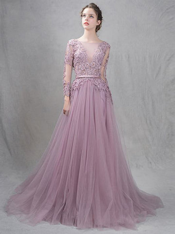 Chic A-line Bateau Applique Tulle Modest Long Prom Dress Evening Dress AM539