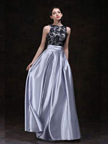Chic A-line Silver Scoop Lace Elastic Woven Satin Long Prom Dress Evening Dress AM540