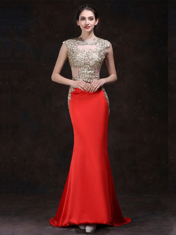Chic Trumpet/Mermaid Orange Scoop Rhinestone Chiffon Long Prom Dress Evening Dress AM541