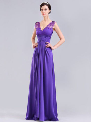 Chic A-line Lavender V-neck Beading Chiffon Long Prom Dress Evening Dress AM542