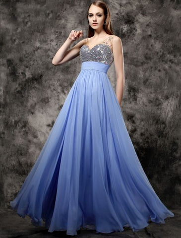 Chic A-line V-neck Blue Chiffon Sequins Modest Long Prom Dress Evening Dress AM543