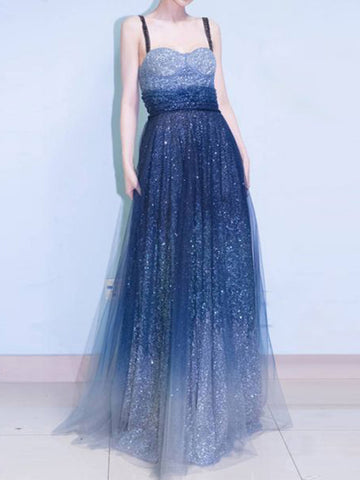 Chic A-line Strap Royal Blue Tulle Sequins Modest Long Prom Dress Evening Dress AM545