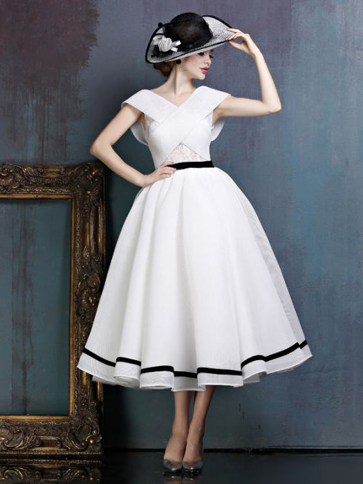 Chic A-line Off-the-shoulder White Tulle Flouncing Modest Tea Length Prom Dress AM546