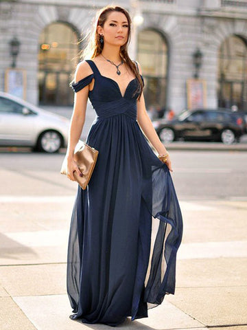 Chic A-line Dark Navy Straps Simple Chiffon Long Prom Dress Evening Dress AM549