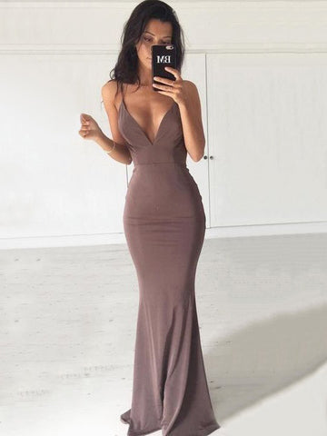 Chic Trumpet/Mermaid Spaghetti Straps Chiffon Simple Long Prom Dress Evening Dress AM550
