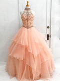 Chic A-line High Neck Pearl Pink Beading Modest Long Prom Dress Evening Dress AM551