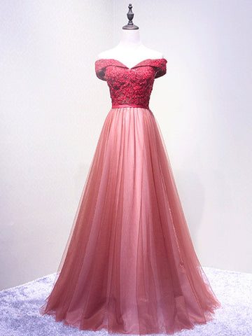 Chic A-line Off-the-shoulder Red Applique Modest Long Prom Dress Evening Dress AM552
