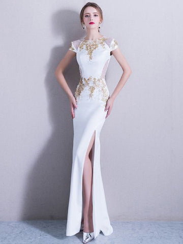 Chic Trumpet/Mermaid Scoop White Applique Modest Long Prom Dress Evening Dress AM553