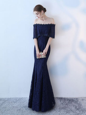 Chic Trumpet/Mermaid Off-the-shoulder Dark Navy Tulle Half Sleeve Modest Prom Dress Evening Dress AM554