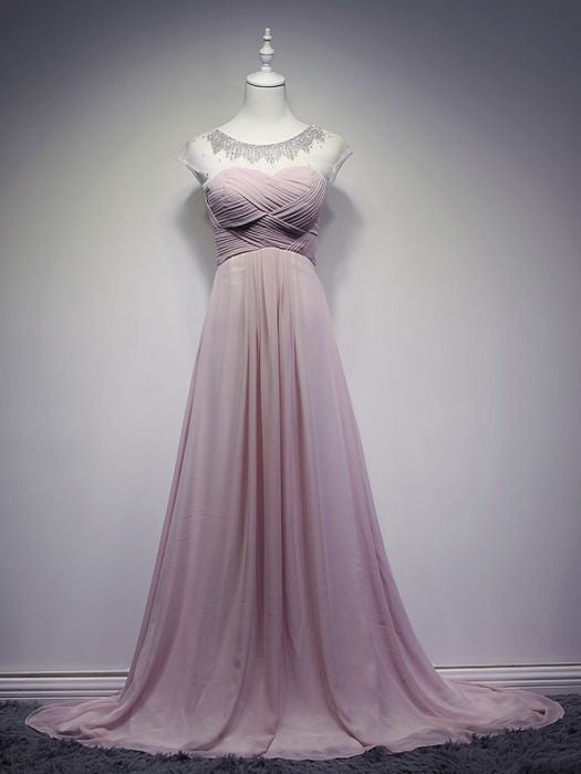 32e5575231 Chic A-line Scoop Pink Beading Modest Long Prom Dress Evening Dress AM –  AmyProm