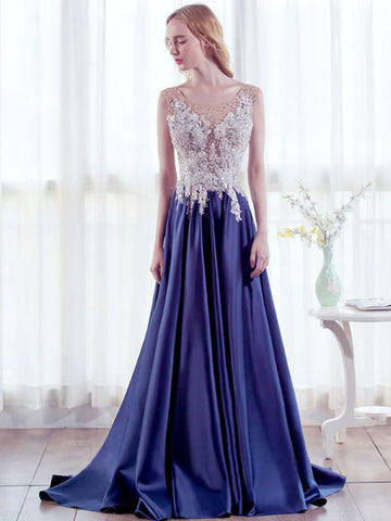 Chic A-line Scoop Royal Blue Beading Modest Long Prom Dress Evening Dress AM556