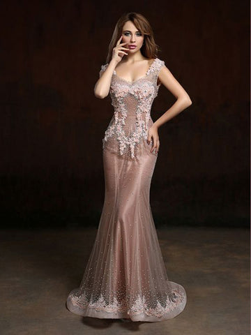 Chic Trumpet/Mermaid V-neck Pink Applique Modest Long Prom Dress Evening Dress AM558