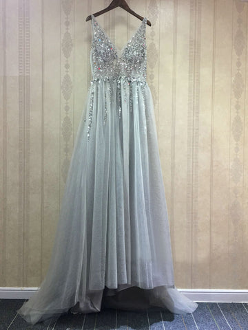 Chic A-line V-neck Silver Beading Modest Long Prom Dress Evening Dress AM560