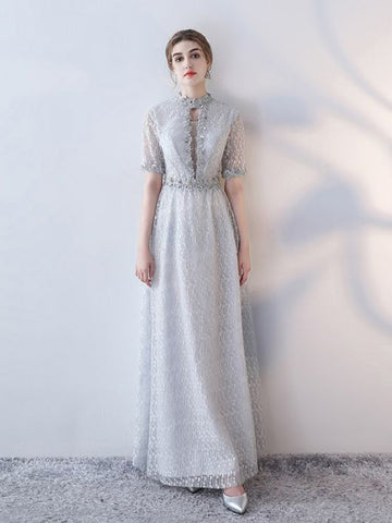 Chic A-line High Neck Silver Lace Modest Long Prom Dress Evening Dress AM561