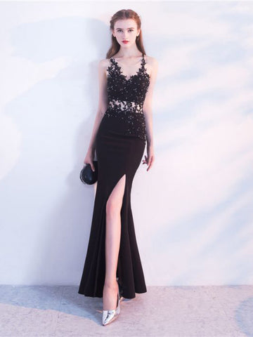 Chic Trumpet/Mermaid Spaghetti Straps Black Applique Modest Long Prom Dress Evening Dress AM562