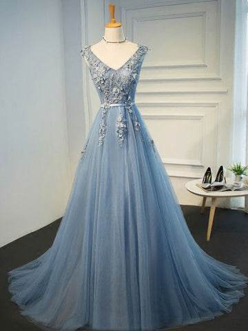 Chic A-line V-neck Blue Applique Tulle Modest Long Prom Dress Evening Dress AM564
