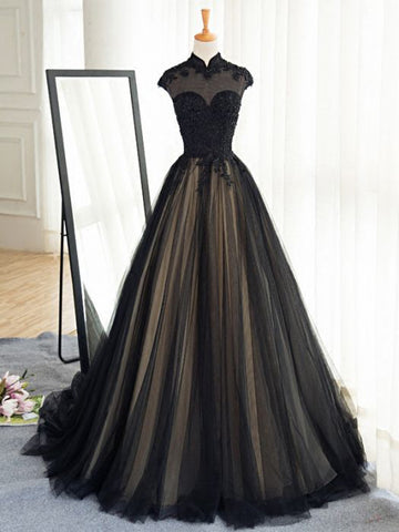 Chic A-line High Neck Black Tulle Floor Length Modest Prom Dress Evening Dress AM565