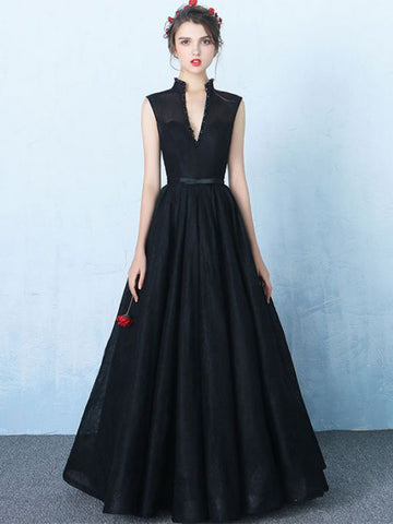 Chic A-line High Neck Black Tulle Floor Length Modest Prom Dress Evening Dress AM566