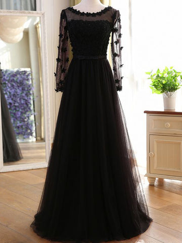 Chic A-line Black Tulle Long Sleeve Modest Prom Dress Evening Dress AM567