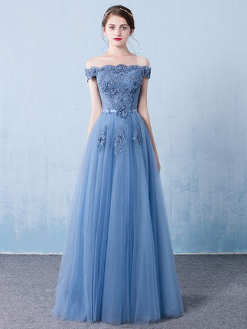 Chic A-line Off-the-shoulder Blue Applique Tulle Modest Long Prom Dress Evening Dress AM568