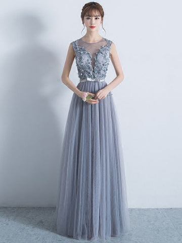 Chic A-line Scoop Silver Applique Modest Long Prom Dress Evening Dress AM569