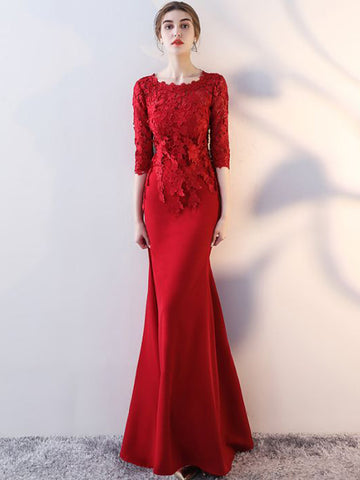 Chic Trumpet/Mermaid Scoop Red Satin Floor Length Modest Prom Dress Evening Dress AM570