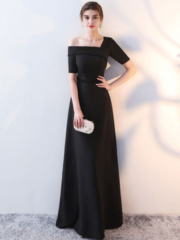 Chic A-line Off-the-shoulder Black Simple Modest Long Prom Dress Evening Dress AM571
