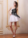 Chic A-line One Shoulder Organza Short Mini Black Homecoming Dress Cocktail Dress AM572