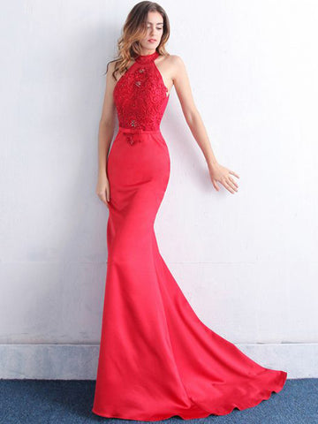 Chic Trumpet/Mermaid High Neck Red Applique Modest Long Prom Dress Evening Dress AM573