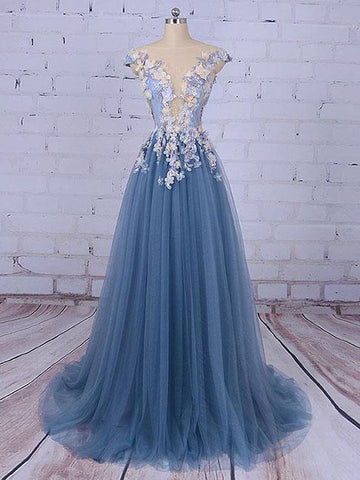 Chic A-line Bateau Blue Applique Modest Long Prom Dress Evening Dress AM575