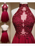 Chic A-line High Neck Burgundy Applique Modest Short Prom Dress Homecoming Dress AM576