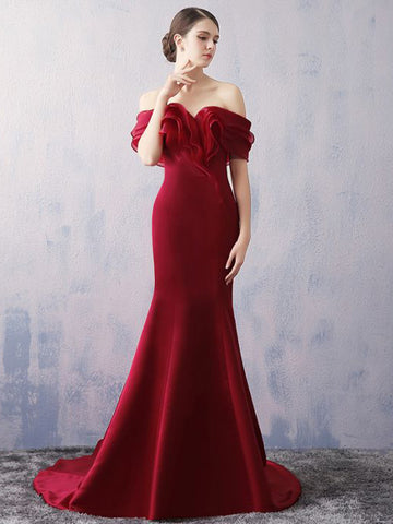 Chic Trumpet/Mermaid Burgundy Off-the-shoulder Modest Long Prom Dress Evening Dress AM578