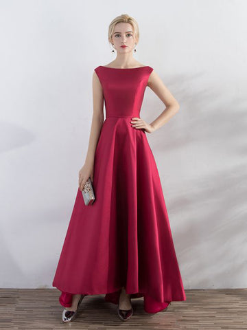 Chic A-line Bateau Burgundy Simple Asymmetrical Ankle-length Prom Dress Evening Dress AM579