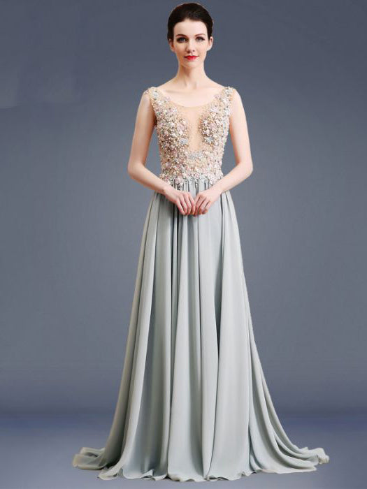 e406667b45 Chic A-line Scoop Beading Modest Chiffon Beading Long Prom Dress Evening  Dress AM580