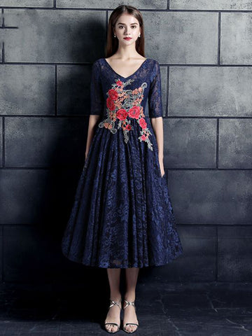 Chic A-line V-neck Dark Navy Modest Tulle Lace Tea-length Prom Dress Evening Dress AM581